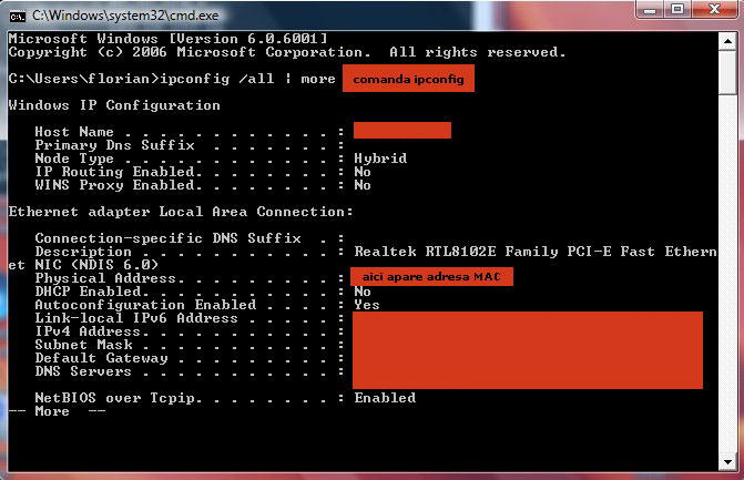 Comanda Ipconfig in Windows
